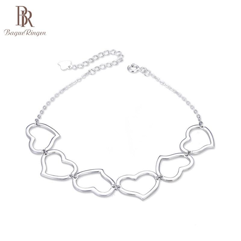 Женский браслет с полыми сердечками из серебра 925 пробы Гибкие и жесткие