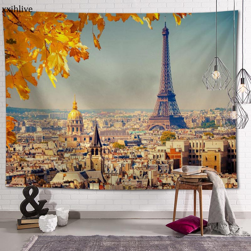 Famous Eiffel Tower Tapestry Customizable Bohemian Wall Hanging Room Carpet HD Tapestries Art Home Decoration Accessories eiffel tower round wood analog wall clock