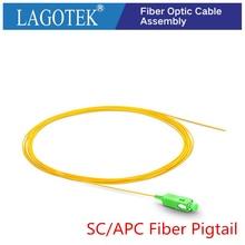 50/100/200/500PCS SC/APC 섬유 피그 심플 렉스 9/125 단일 모드 광섬유 피그 0.9mm LSZH 옐로우