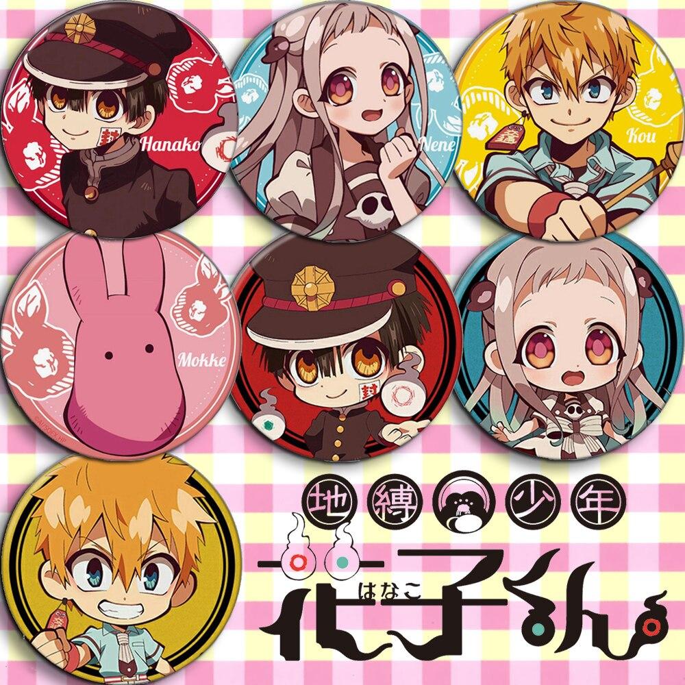 Lote al por mayor 7 Uds Jibaku Shounen Hanako-kun Anime accesorios de Cosplay insignias broche de baño atado Hanako Kun decoración Botón de bolso Pin