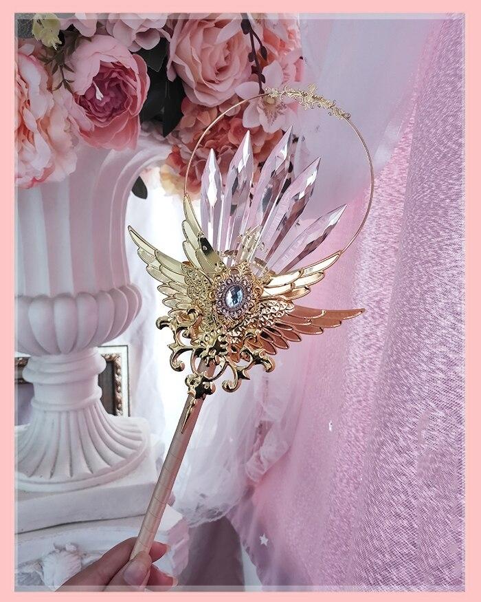 Anime cosplay lolita bengala de cristal de metal asa kawaii varinha mágica foto adereços lolita acessórios loli cos 2020 novo