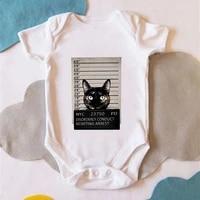 cat is arrest print funny boy baby clothes romper humor harajuku newborn infant bodysuit short sleeve summer baby boy body