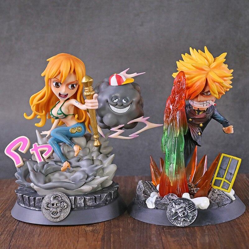 ¡Anime una pieza Sanji Nami batalla Ver! Figura de PVC de estatua GK modelo coleccionable de juguetes con figuras