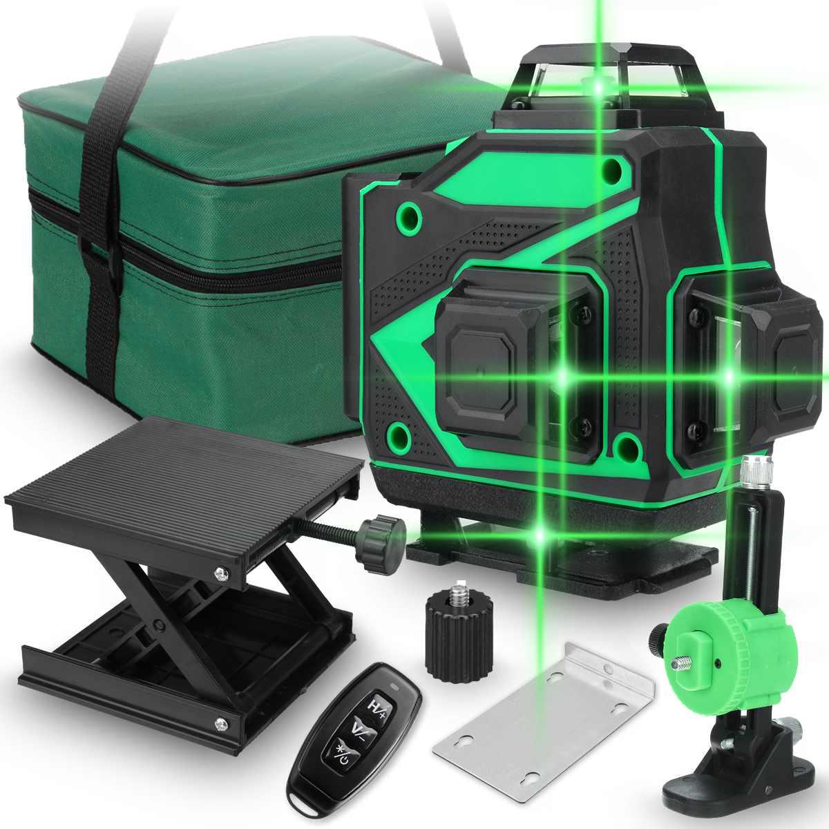 جهاز تسوية بالليزر بضوء أخضر على مستوى ليزر 360 من 16 خط ، جهاز تسوية بالليزر على مستوى شعاع ، أداة قياس عمودية أفقية للتسوية الذاتية