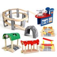 Bois hêtre jouet piste chemin de fer pont Tunnel vol stationnaire orbite bois Train accessoires éducatifs nouveaux jouets pour enfants enfants cadeaux