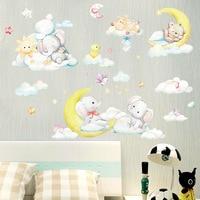 Спящая Луна слон медведь наклейки на стену для детской комнаты декор для детской комнаты Мультяшные виниловые наклейки домашние декоратив...
