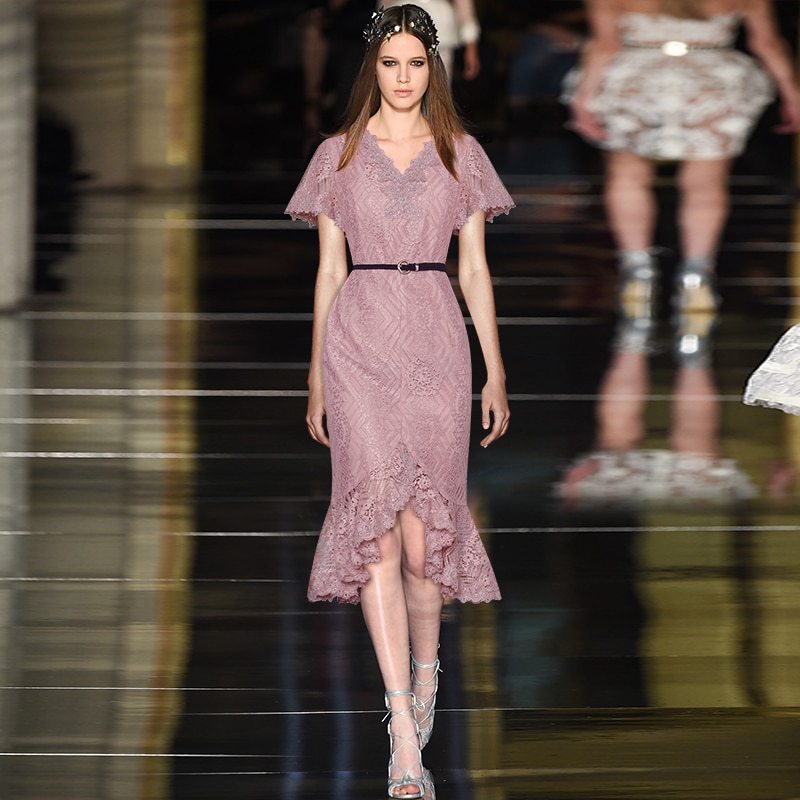 Gedivoen Fashion Runway Summer Dress Women V Neck Hollow Out Belt Slim Asymmetrical Dress Elegant Midi Dresses Vestidos