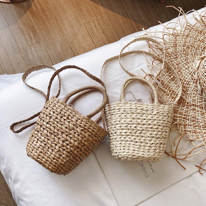 casual rattan buckets bag wicker woven women handbags summer beach straw shoulder crossbody bags lady large capacity totes 2002