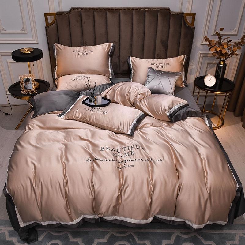 طقم سرير حريري مغسول مفارش منعش للصيف ملاءات سرير مطبوعة نشطة غطاء لحاف حريري وأكياس مخدات للمنزل