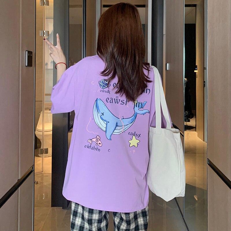Short-Sleeved T-shirt Women Alphabet Cartoon Print Tshirt Plus Size Summer Top Femme Kawaii Korean F