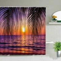 sunny ocean beach fabric shower curtain bathroom curtains sunset dusk tropical plants coconut trees bath screen bathroom decors