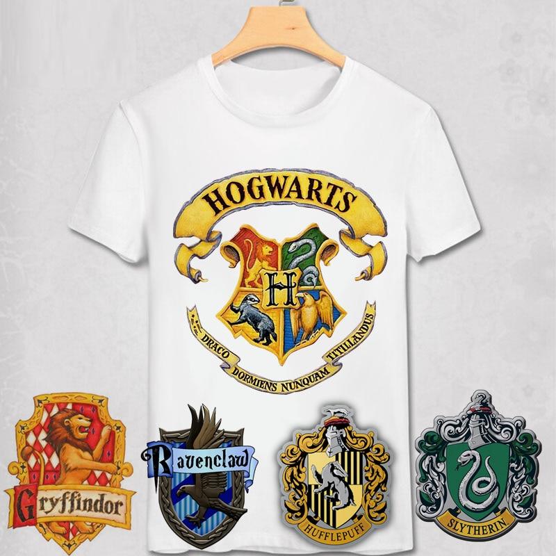 Футболка с логотипом Хогвартс Гриффиндор Рейвенкло хаффлпуф Слизерин магические школы значок искусство Поттер футболка