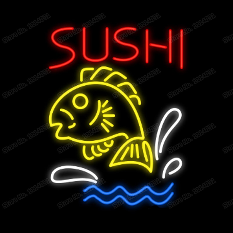 """Sushi Fish Japan Sea Food Neon Sign personalizado hecho a mano tubo de vidrio Real restaurante publicidad decoración pantalla Neon Signs 20 """"X 24"""""""