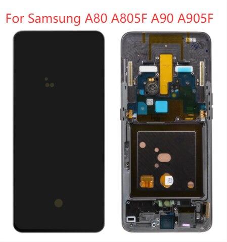 الأصلي AMOLED عرض لسامسونج غالاكسي A90 A905F LCD شاشة تعمل باللمس لوحة الجمعية لسامسونج A80 A805F مع الإطار