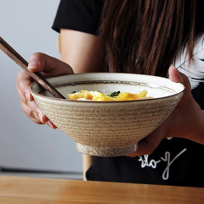 Bol de fideos japonés Hatari Lamian, tazón de cerámica grande para restaurante, tazón de sopa, cuenco de comida, diseño de hilo antideslizante para el hogar