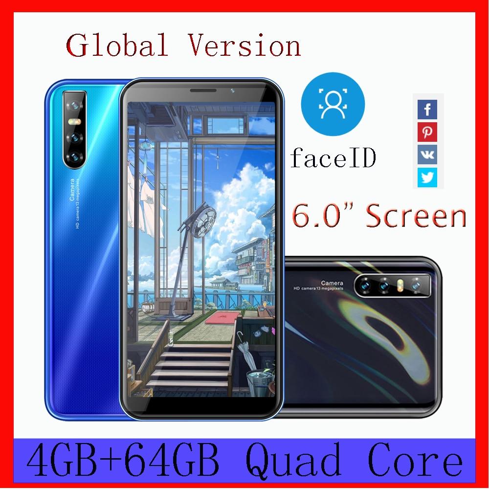 Global Face ID F2 pro Smartphones desbloqueados 6.0 polegada 4GB de RAM GB ROM Celulares 64 MTK6580 13MP Tela HD 2Sim IPS Telefones celulares