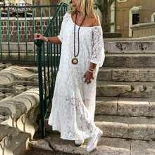 ZANZEA 2020 Women Lace Crochet Maxi Long Dress Summer O Neck 3/4 Sleeve Party Vestidos Robe Femme Bohemian Sundress Casual Dress