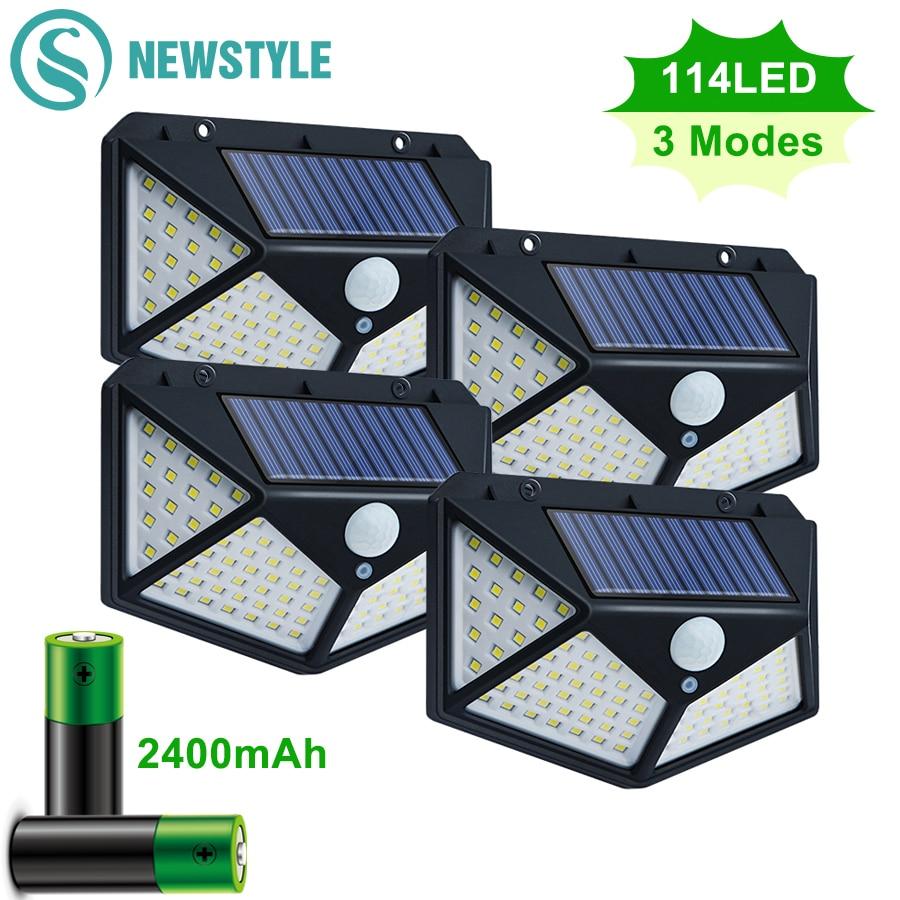 100/114 LED Solar Light Outdoor Waterproof Solar Powered Lamp PIR Motion Sensor Street Light for Garden Decoration 3 Modes