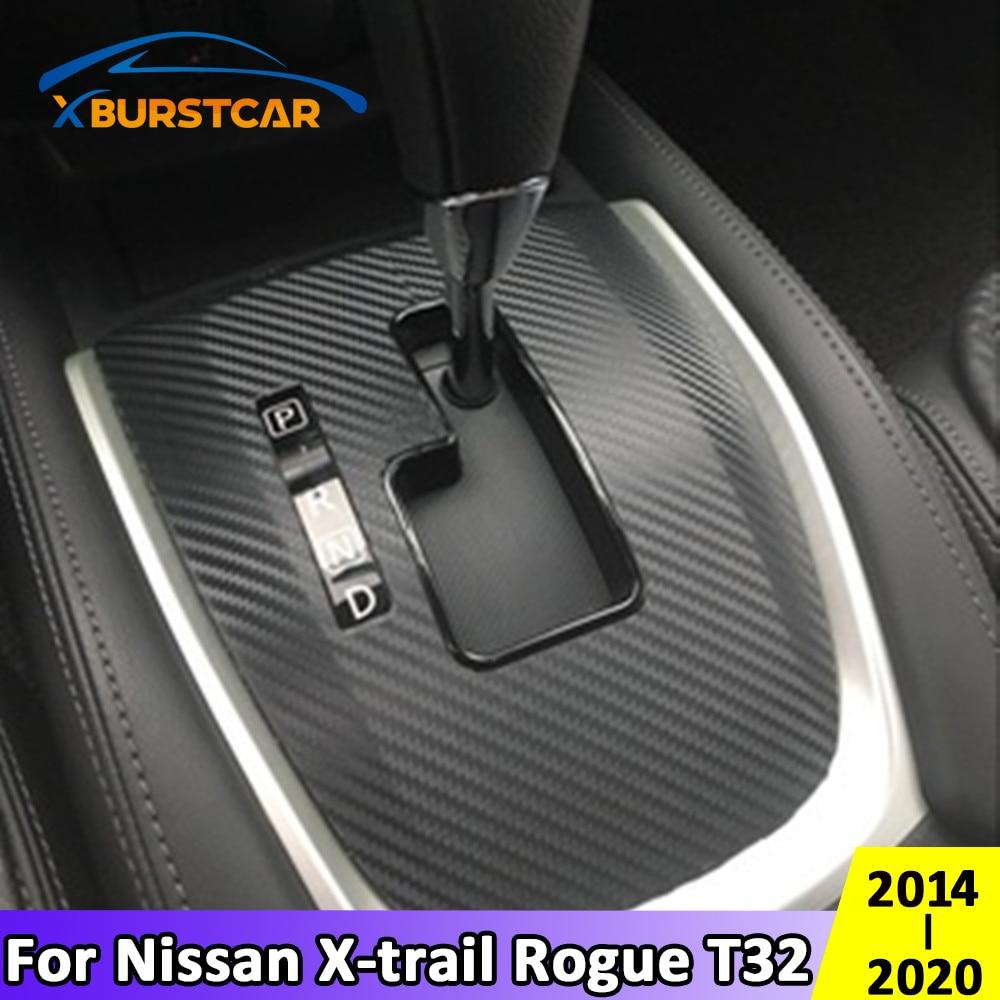 Xburstcar for Nissan Rogue X-Trail Xtrail T32 2014 2015 2016 2017 - 2020 AT Carbon Fiber Car Gear Shift Panel Protective Sticker foal burning car central storage armrest box storage box for nissan x trail x trail xtrail t32 rogue 2014 2015 2016 2017 2018 p
