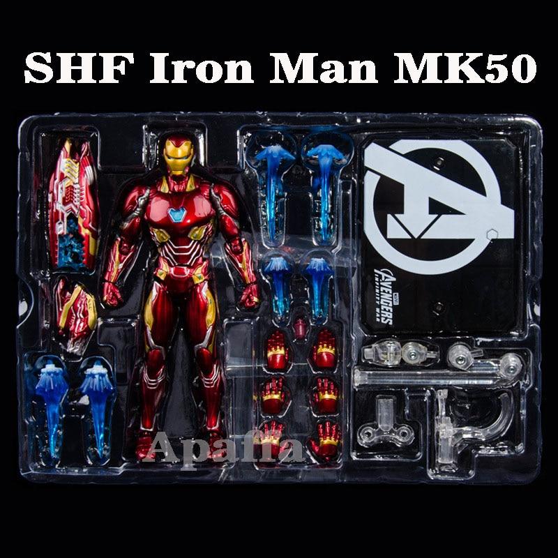 Hot Marvel Avengers SHF Figure IRON MAN MK50 NANO WEAPON SET Infinity War Action Figures Model Toys with Box