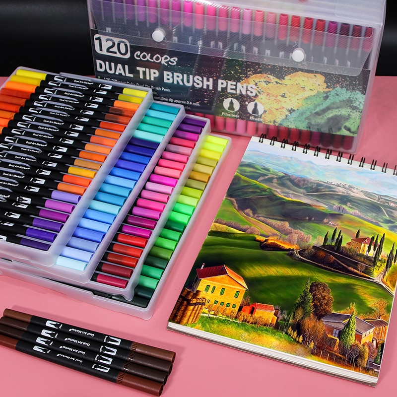 120 Colors Dual Tip Brush Marker Pens Art Watercolor Fineliner Drawing Painting Stationery Effect Best for Coloring Manga Art