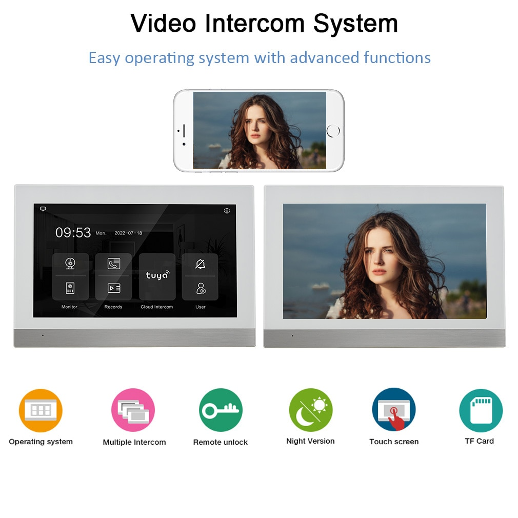 VIDEW Tuya Smart 7 Inch Digital Video Doorbell Intercom System with Camera and Touch Screen Monitor RFID Access for Home Villa enlarge