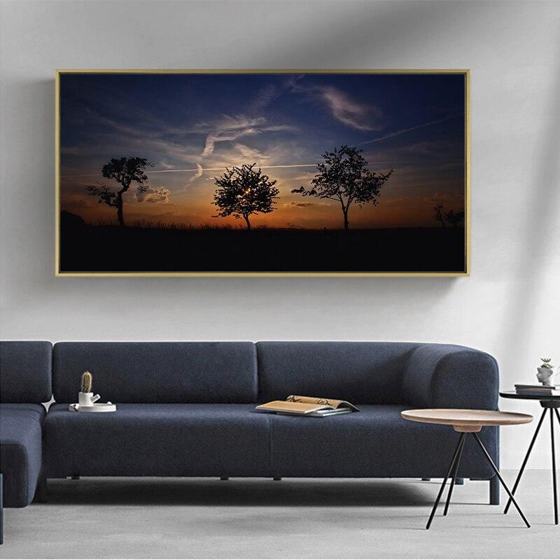 Pôr-do-sol iluminação de fundo ao anoitecer céu lona pintura da arte da parede quadros de parede para sala estar decoração