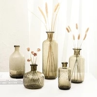 vintage style vase smoke grey bubble glass bottle flower jar for small hydroponic plant dried flower living room decoration
