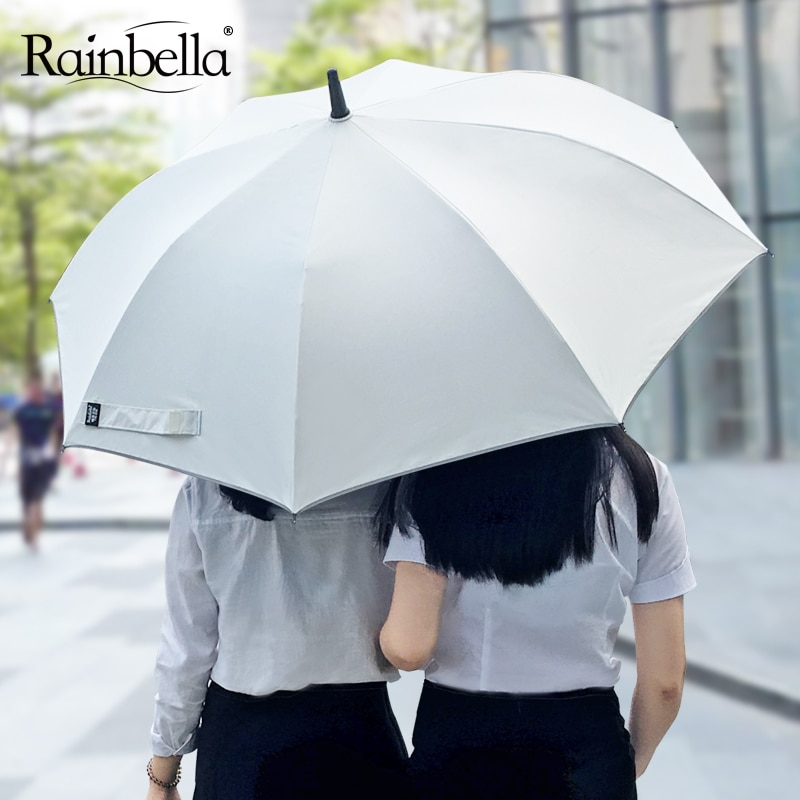 women's umbrella cane rain long handle strong umbrella female man uv sun protect semi-automatic windproof business white black enlarge