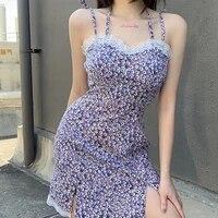 y2k floral lace split mini dress for women fashion sweet spaghetti strap backless dress sexy clubwear 2020 summer women dresses