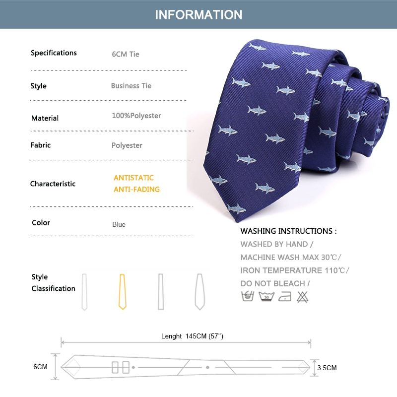 New Blue 6CM Tie Fish Print Ties For Men Business Suit Work Neck Tie High Quality Fashion Formal Necktie With Gift Box