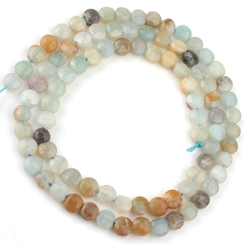 """Cuentas de piedra amazonita facetadas naturales de 4x4mm cuentas redondas sueltas para fabricación de joyería DIY pulseras Perles 15 """"pulgadas"""