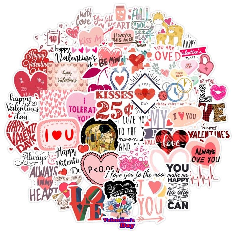 50 шт наклеек ко Дню Святого Валентина Творческий любовь подарок Водонепроницаемый Чемодан чехол для телефона компьютера автомобиля стикер...
