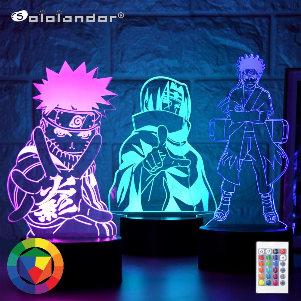 Anime Naruto Uzumaki Led Night Light Team 16 Sasuke Kakashi Hatake Kids Bedroom Nightlight Itachi Uchiha 3d Lamp Child Xmas Gift
