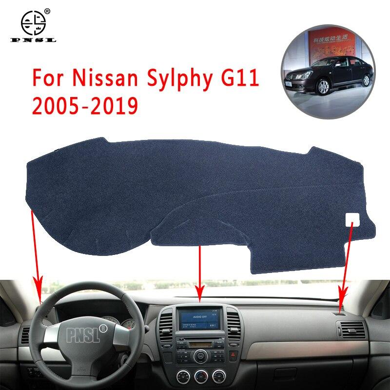 Cubierta para salpicadero de coche PNSL, alfombrilla para tablero, alfombrilla para tablero para Nissan Sylphy G11 2005-2019, protección solar, antideslizante, anti-uv