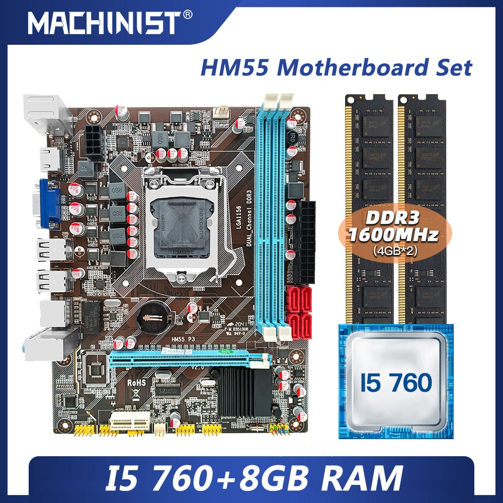 MACHINIST H55 motherboard LGA 1156 set kit gamer pc with Intel core I5 760 processor DDR3 8GB(2*4GB) 1600mhz desktop RAM HM55-P3