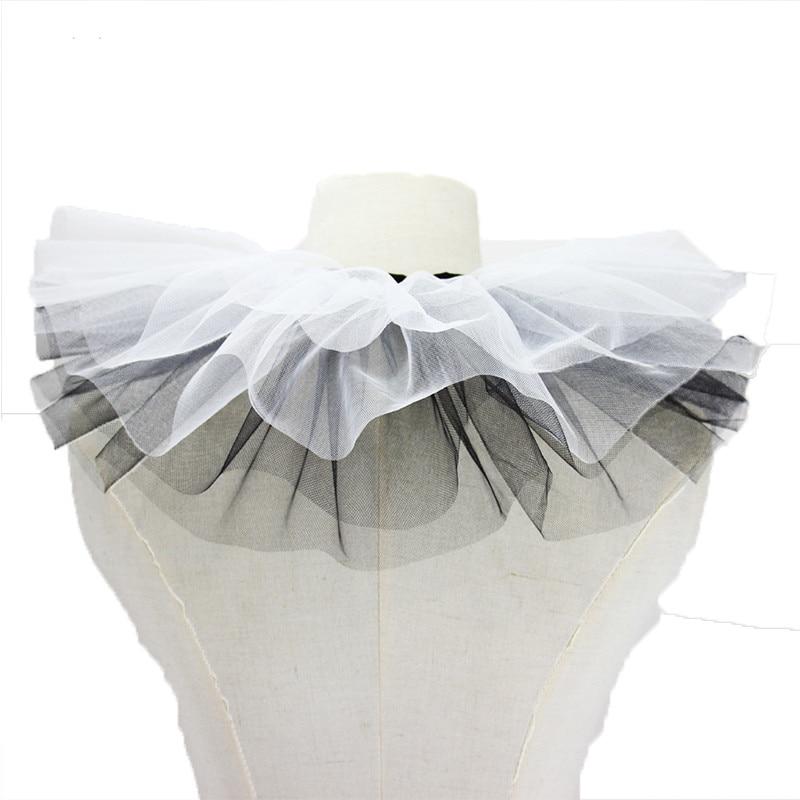 Vintage Black White Ruffles Retro Detachable Fake Ruff Collars Mesh Layers Neck Collar Gothic