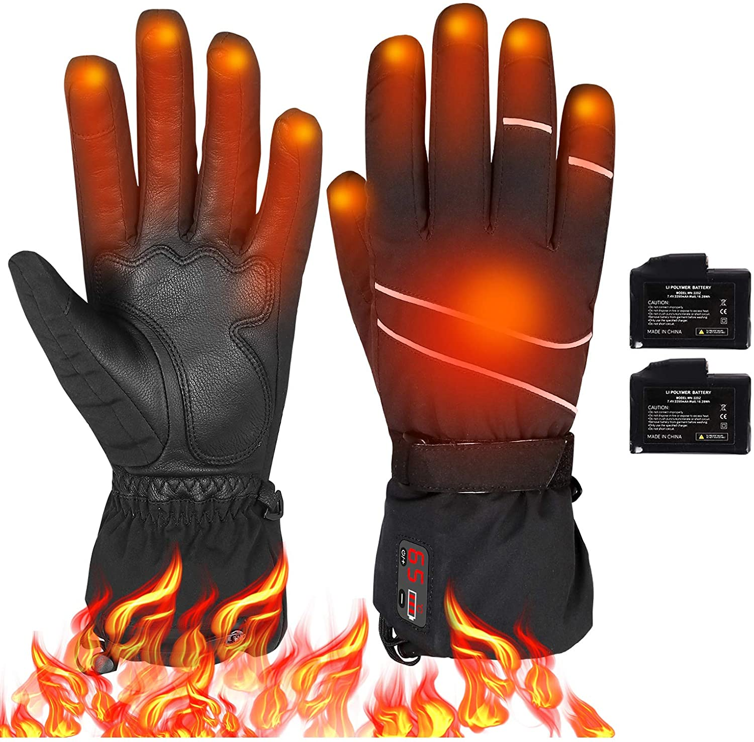 Unisex Electric Heating Gloves Winter Hands Warm Waterproof Thermal Outdoor Motorcycle Skiing Hiking  Climbing  Winter Gloves