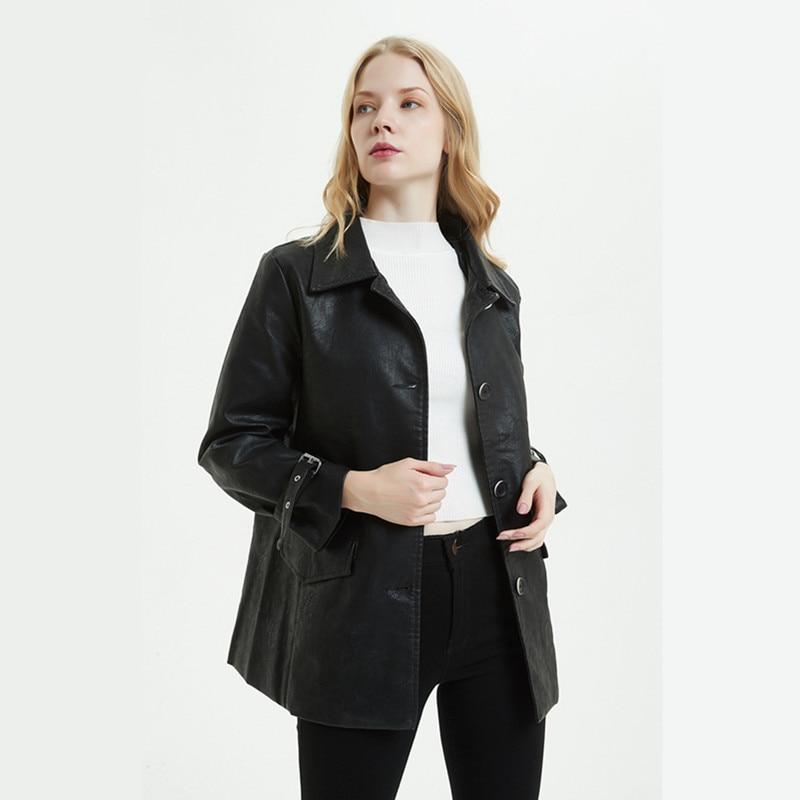New Leather Jacket Women long section single breasted Korean version of the loose Biker Jacket lapel aviator jacket Black Coat enlarge