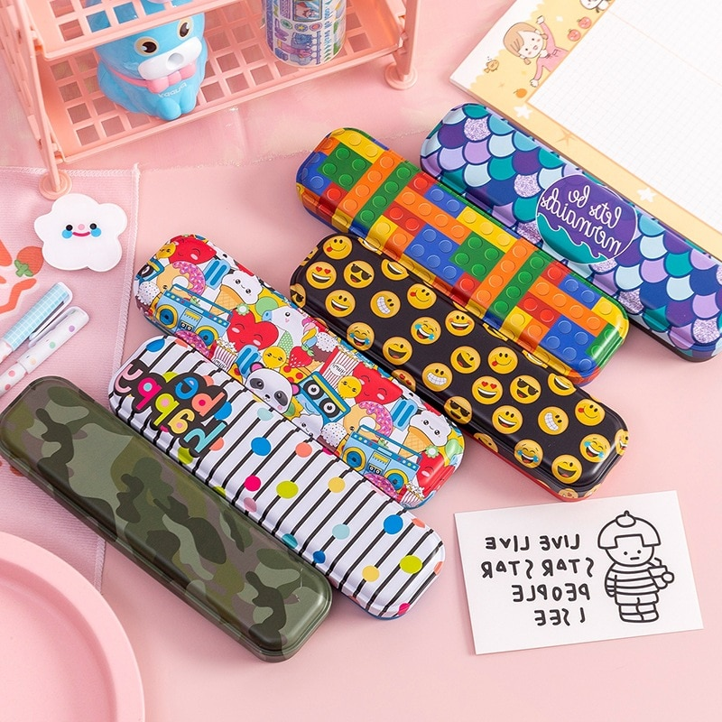 Metal stationery box Cute pencil case Kawaii school Pencil cases gifts for children kid student pen case Color Storage box portable fruit silicone stationery box cute pencil case kawaii school pencil cases gifts for girls student pen case storage bag