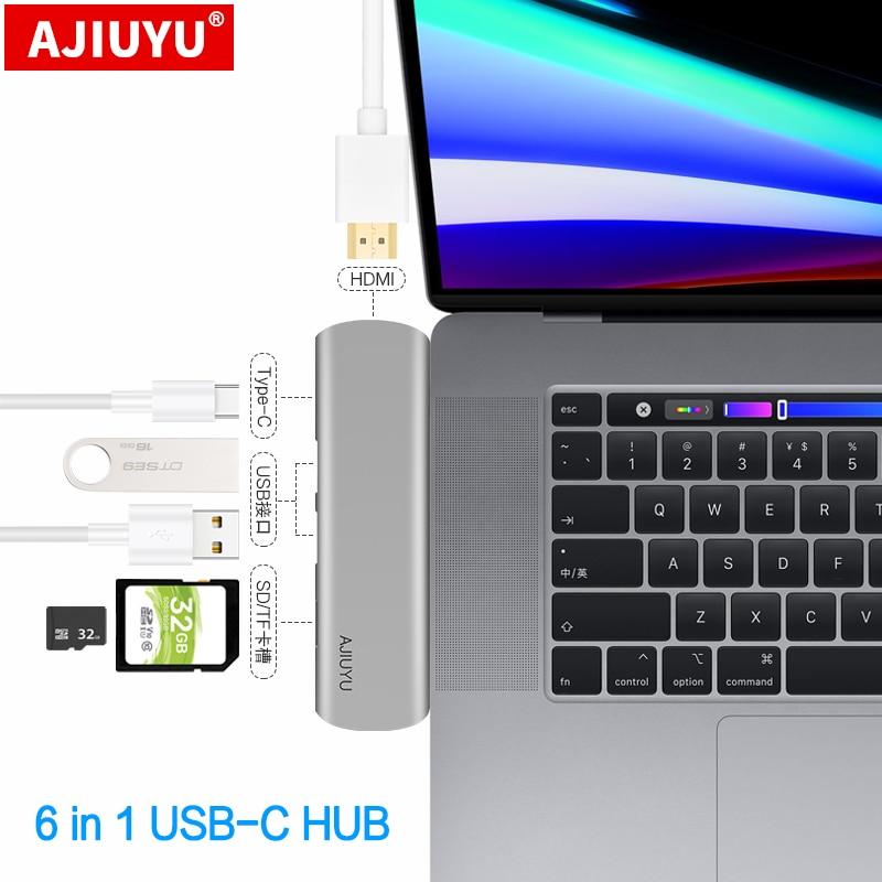 AJIUYU USB C Hub إلى متعدد USB3.0 حوض HDMI محول TF SD قارئ بطاقة PD تهمة لهواوي MateBook X برو D 14 15 16 نوع-c منافذ