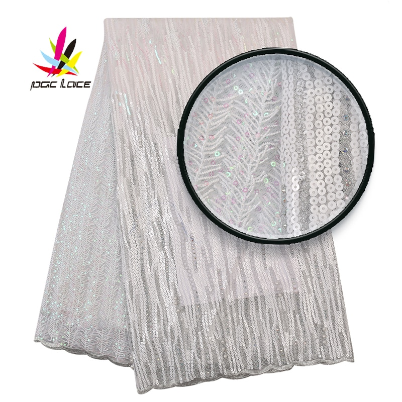 2019 New Nigerian Lace Fabrics African White Lace Fabric High Quality French Embroidery Lace Material For Women Dress XZ2986B-6