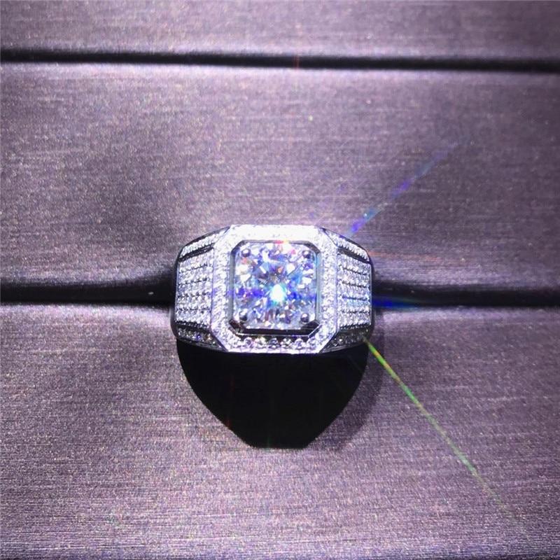 2020 Solitaire Männlichen 4ct Labor Sona Diamant Ring 925 sterling silber Schmuck, Verlobung, Hochzeit band Ringe für männer Party zubehör