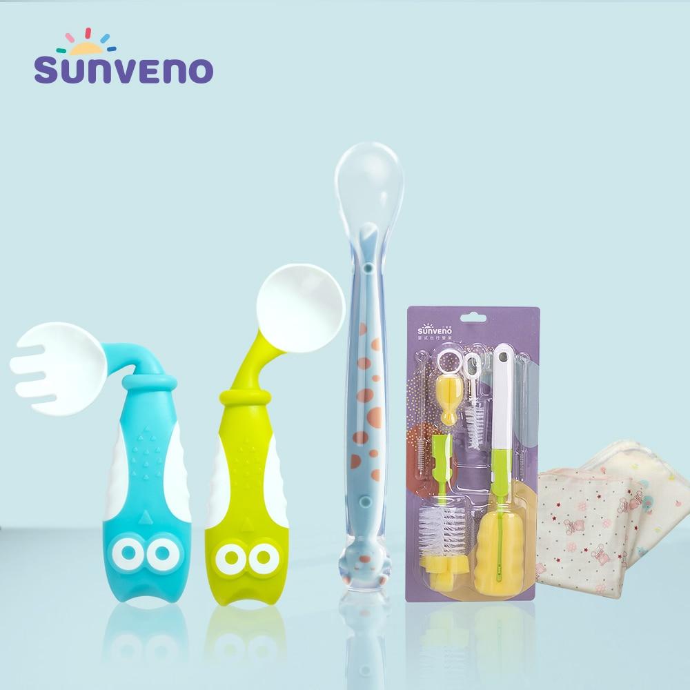 Sunveno Baby Spoons Feeding Baby Tableware Feeding Spoon Fork Cutlery Newborns Dishes Owl Fork Spoon Set