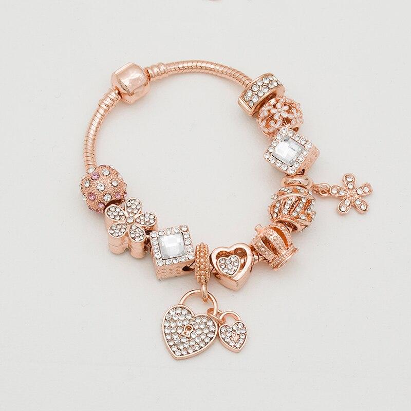 جديد و ارتفع الذهب النساء سوار الحب قلادة سوار مجموعة لل مجوهرات للبنات هدية الكريسماس