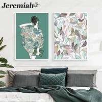 Moderne mode beaute toile affiche abstraite femme feuille verte peinture mur Art nordique chambre decoration de la maison