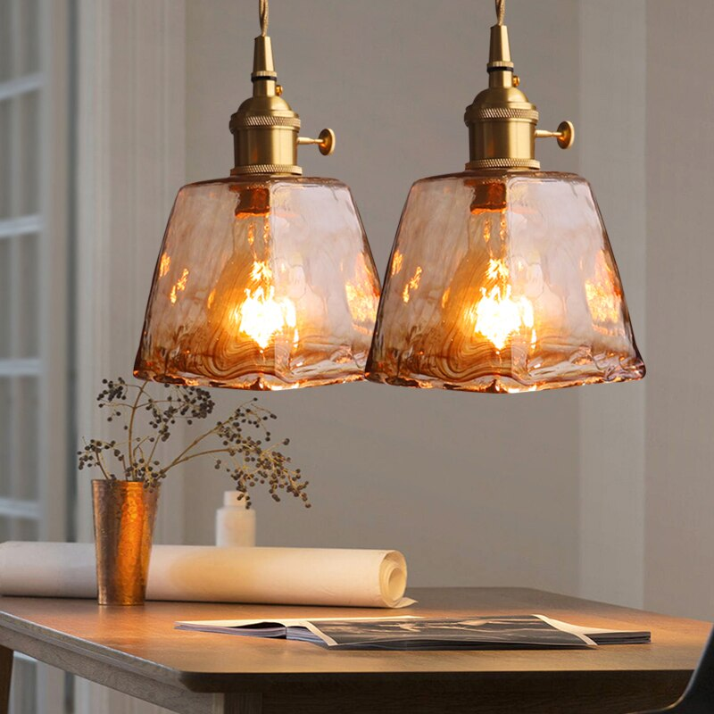 Lámpara colgante nórdica moderna colgante de cristal y Latón para Cocina, Restaurante, Bar, sala de estar, dormitorio