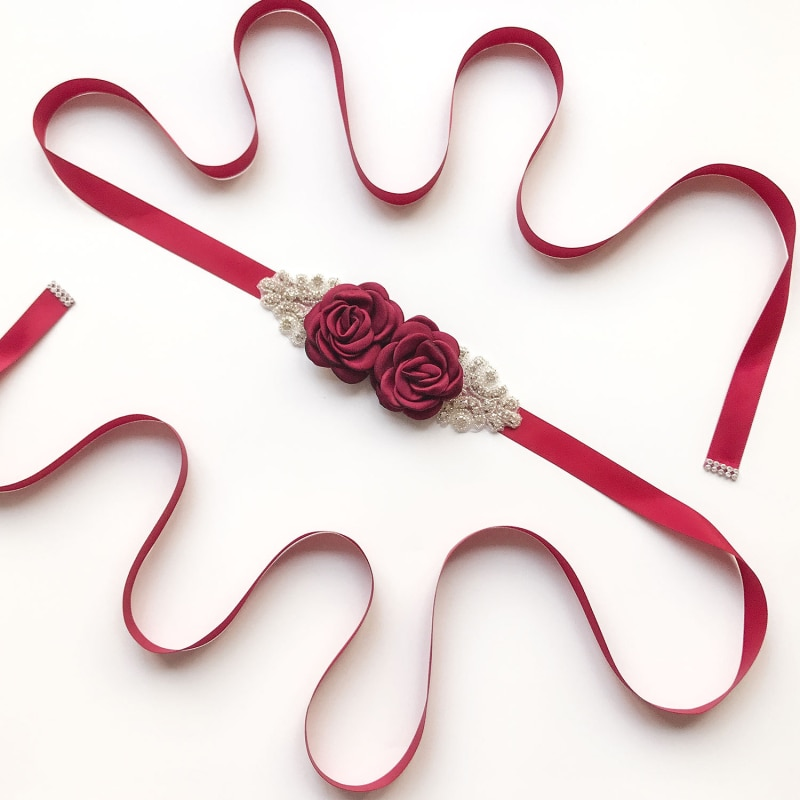 Multi-color rosa flor cinto de noiva pérola vestido de noiva sash festa dama de honra cinto cummerbund cós acessórios
