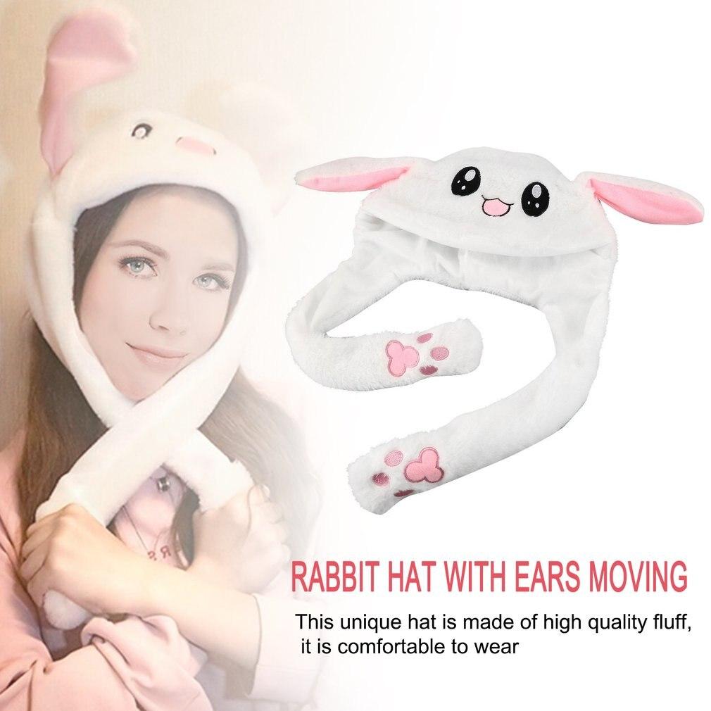Плюшевая шапка с подвижными кроличьими ушками, мягкая Регулируемая шапка с мягкими ушками, милые животные, подарок шапка с заячьими ушами