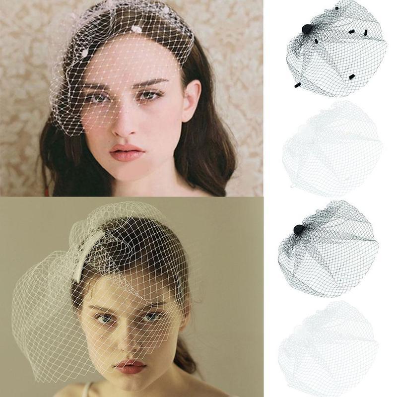 New Handmade Retro Mesh Veil Hair Clip Black Polka Dot Large Veil Brooch Bride Net Bird Cage Veil Headdress Dress Jewelry